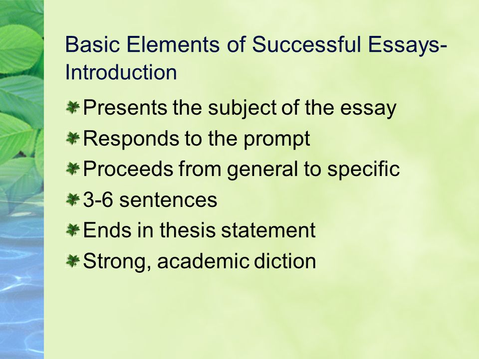 basic elements of a essay The essay is used as a form of assessment in many academic disciplines, and is   these criticisms highlight the three basic elements of good essay writing.
