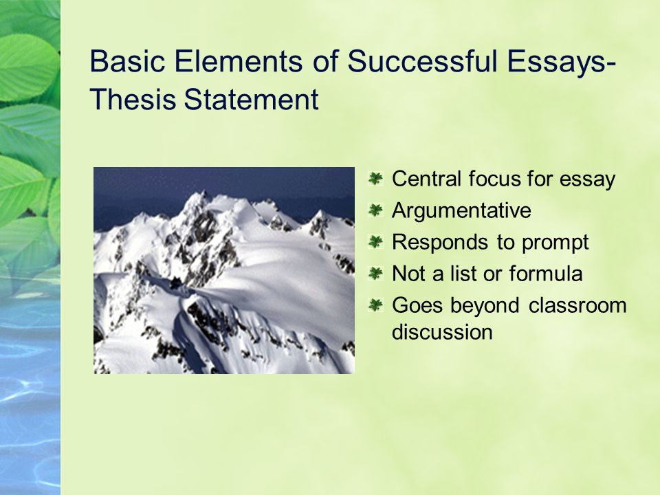 five elements of an essay An essay is, generally, a piece of writing that gives the author's own argument — but the definition is vague, overlapping with those of a paper, an article, a pamphlet, and a short story.