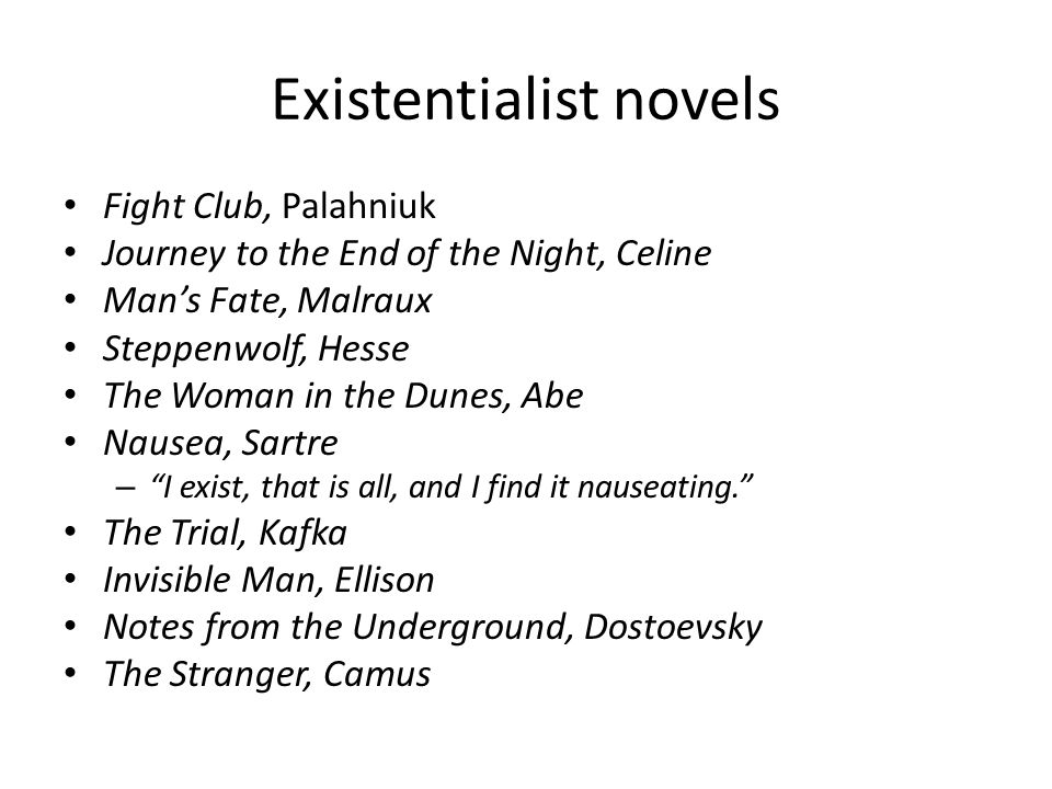 the concept of existentialism in the novels invisible man and the stranger