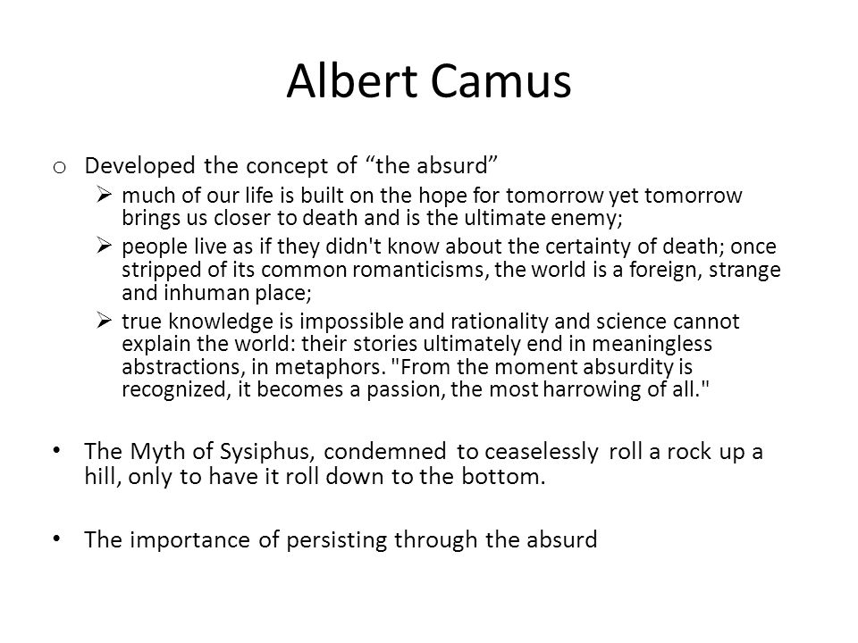 Albert Camus Developed the concept of the absurd