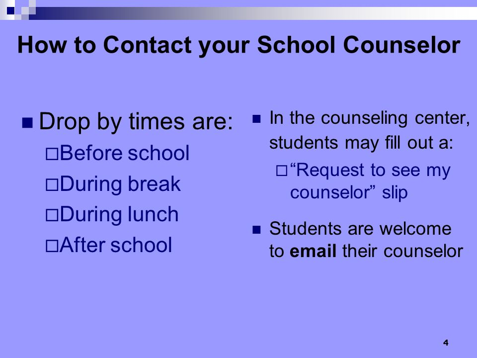 How to Contact your School Counselor