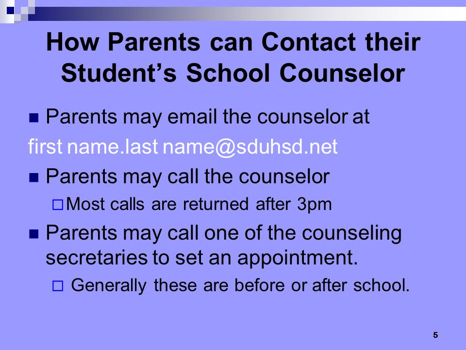 How Parents can Contact their Student's School Counselor