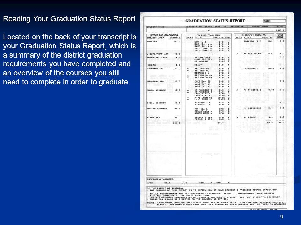Reading Your Graduation Status Report