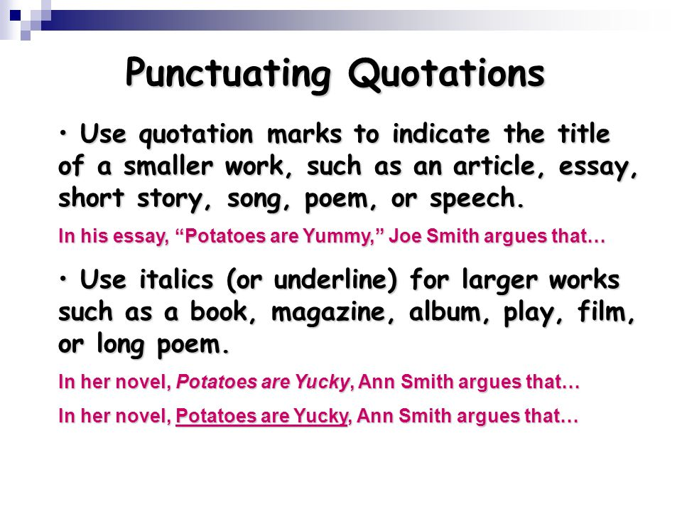 using quotations ppt  punctuating quotations