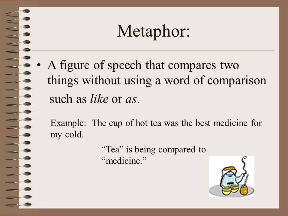 Metaphor: A figure of speech that compares two things without using a word of comparison. such as like or as.
