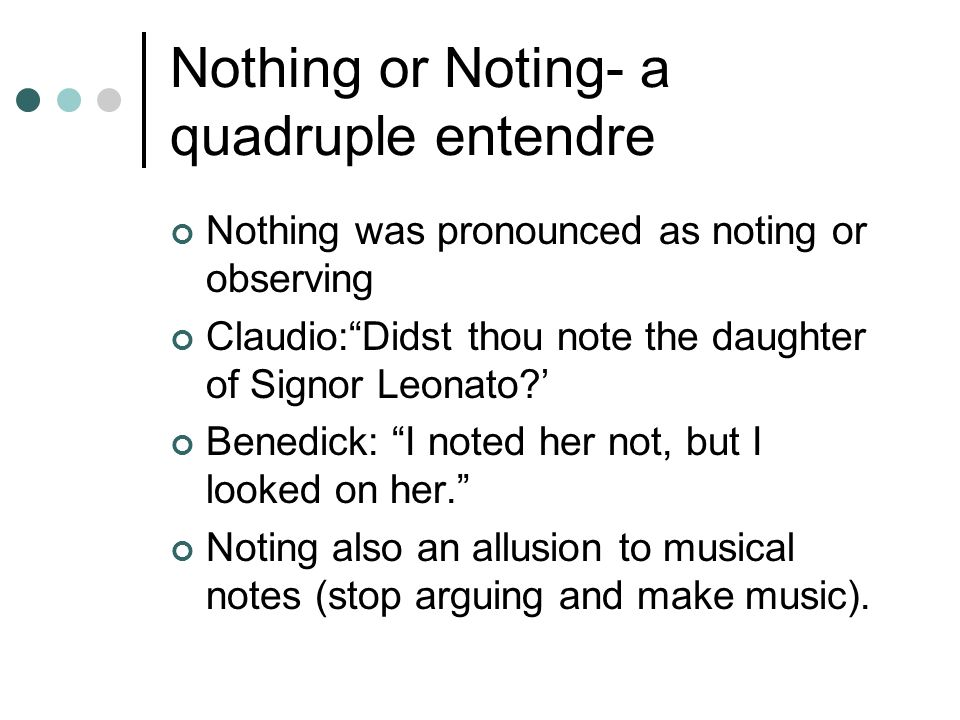 Nothing or Noting- a quadruple entendre