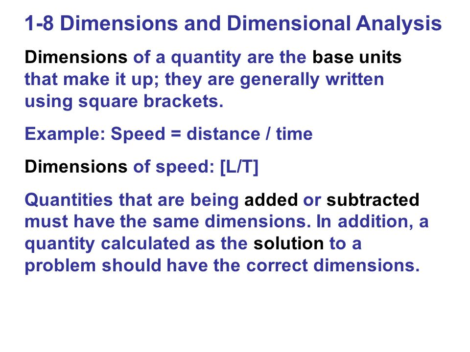 1-8 Dimensions and Dimensional Analysis