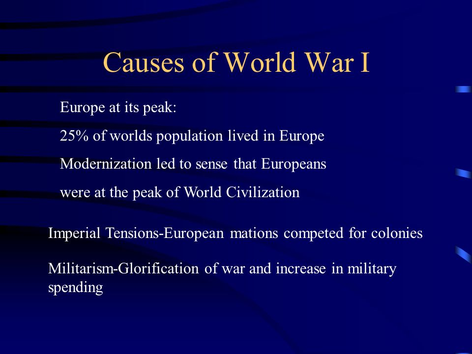Causes of World War I Europe at its peak: