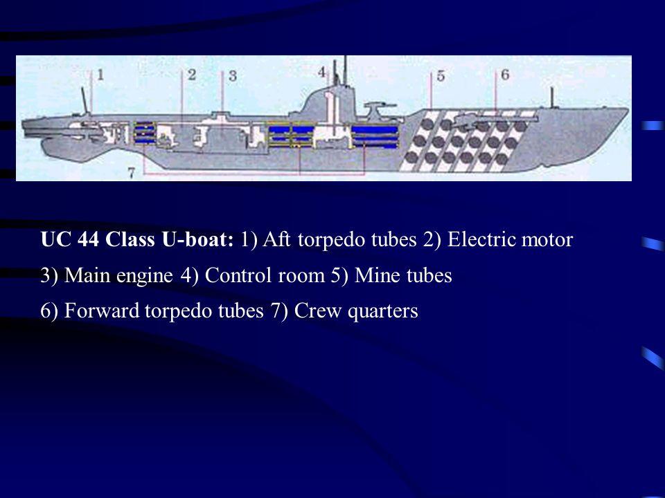 UC 44 Class U-boat: 1) Aft torpedo tubes 2) Electric motor