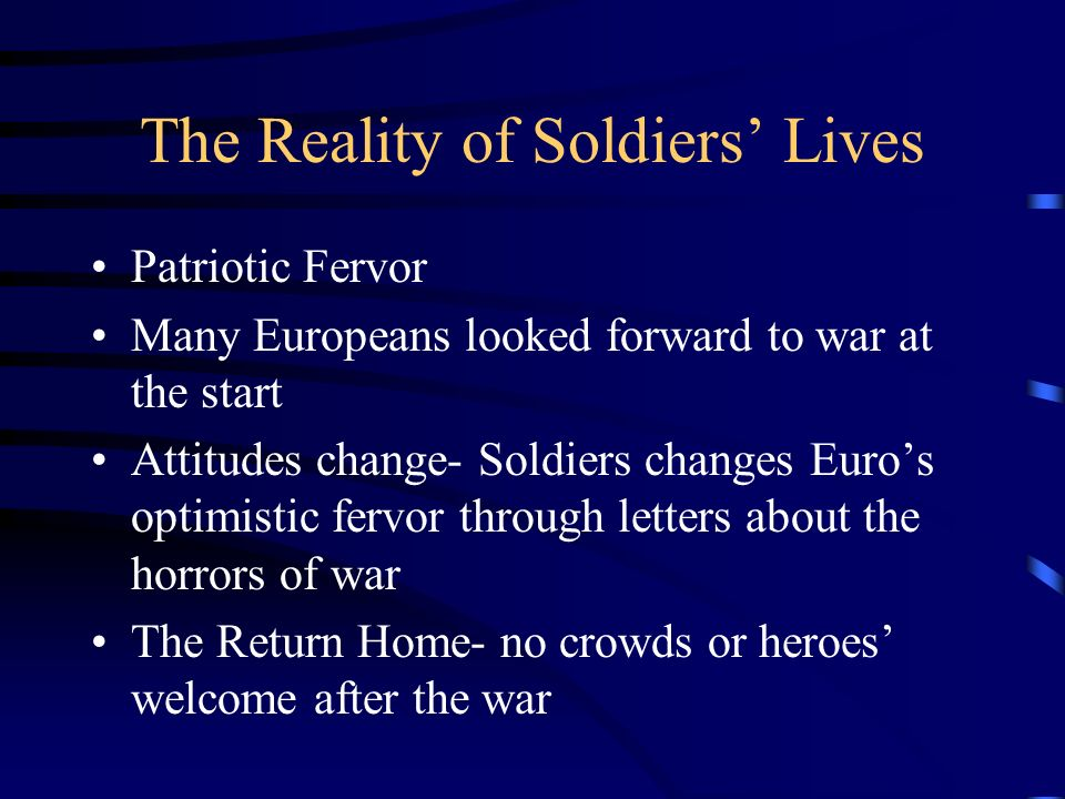 The Reality of Soldiers' Lives