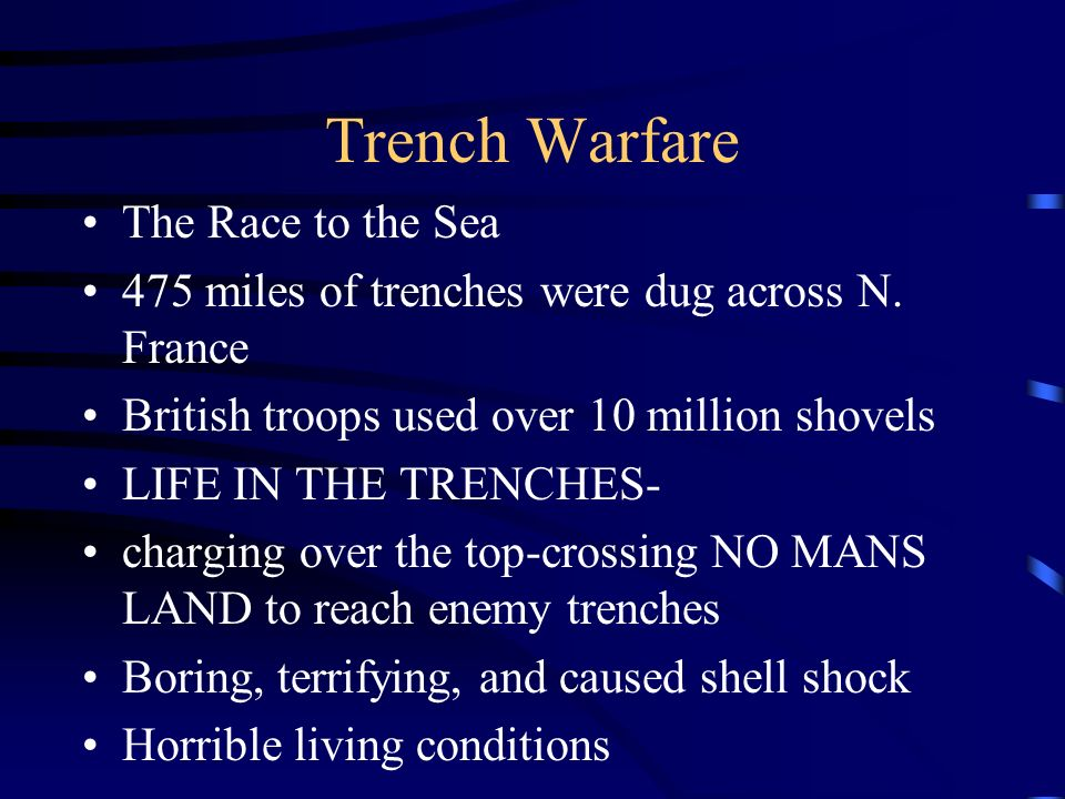 Trench Warfare The Race to the Sea