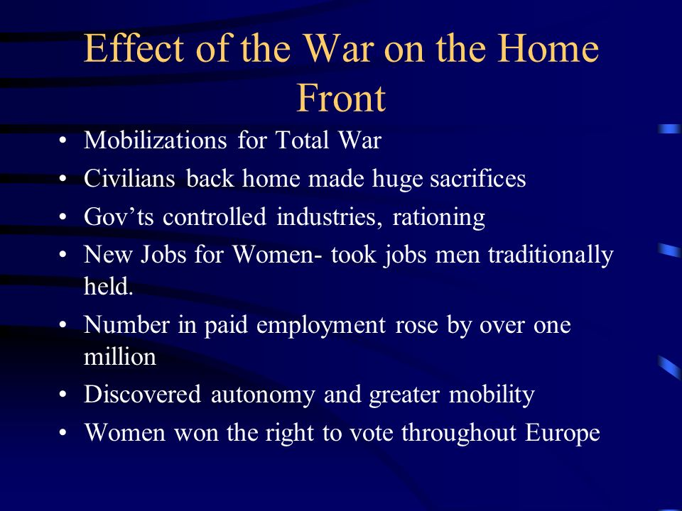 Effect of the War on the Home Front