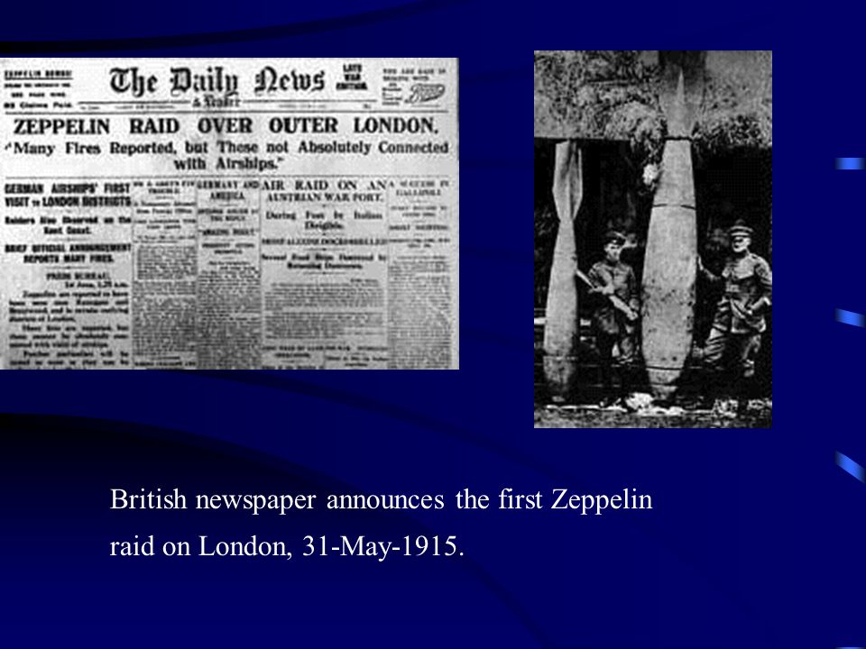 British newspaper announces the first Zeppelin