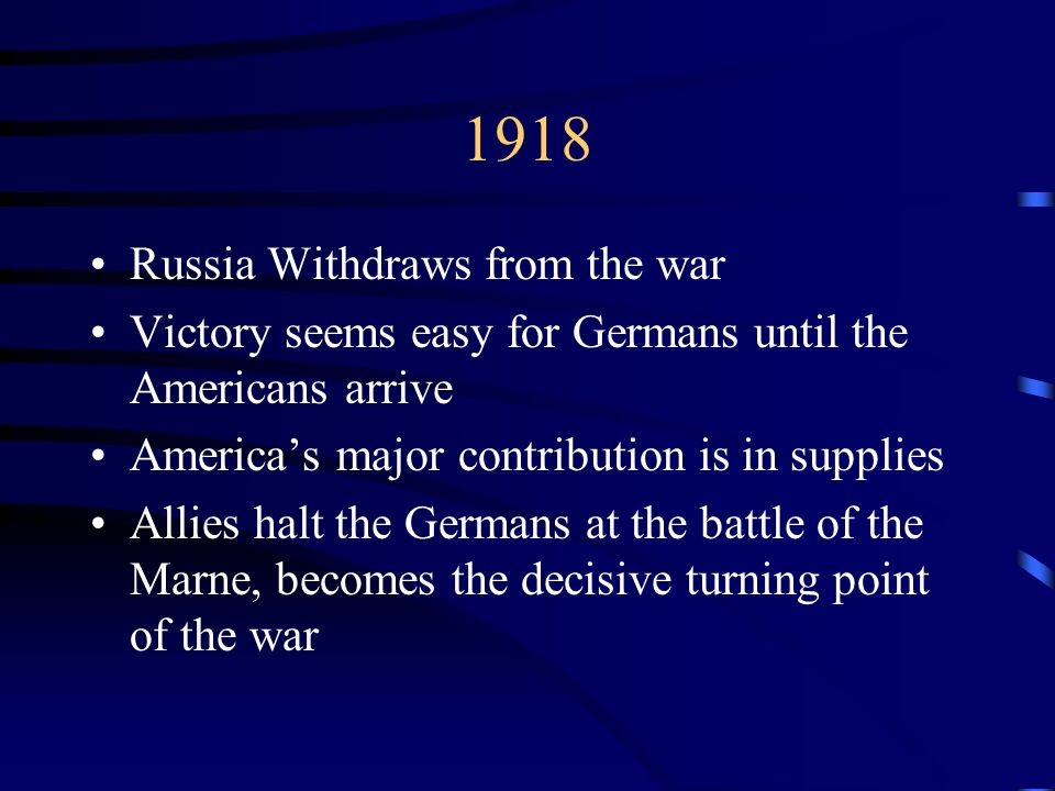 1918 Russia Withdraws from the war