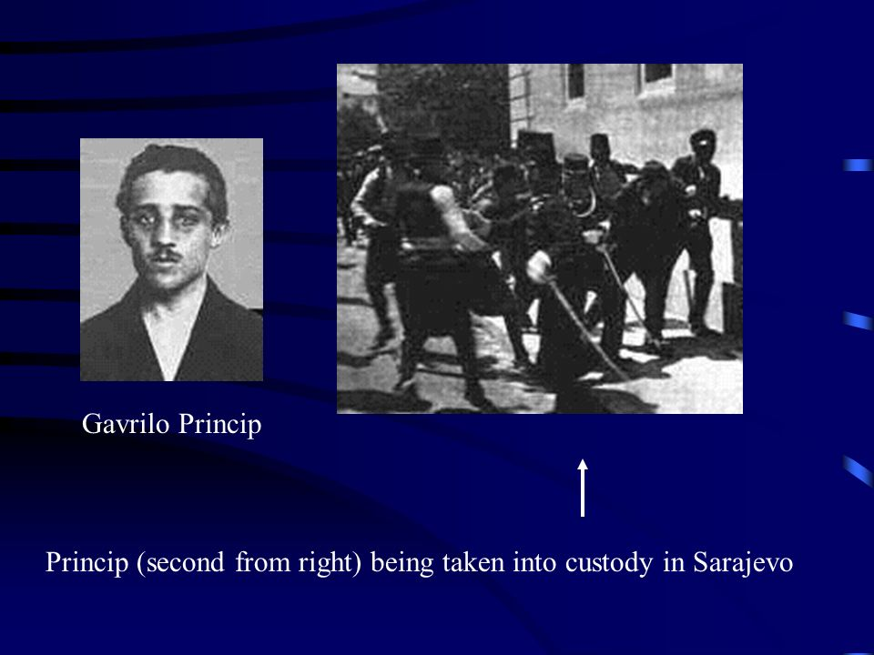 Gavrilo Princip Princip (second from right) being taken into custody in Sarajevo