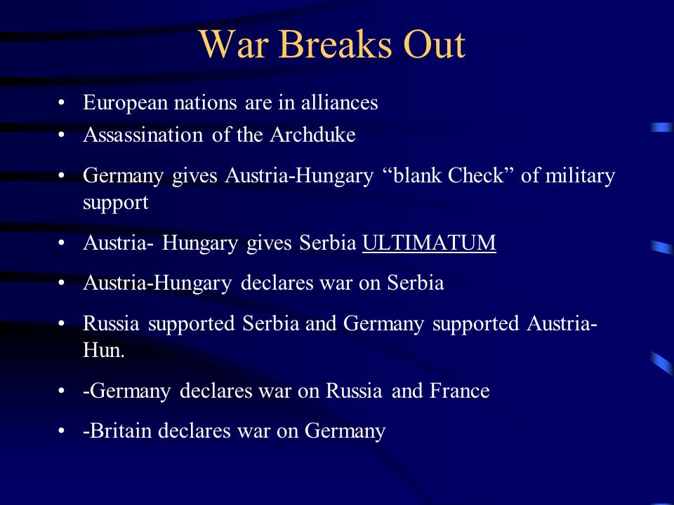 War Breaks Out European nations are in alliances