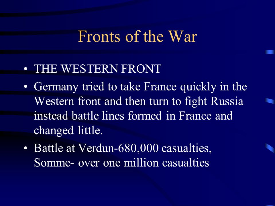Fronts of the War THE WESTERN FRONT