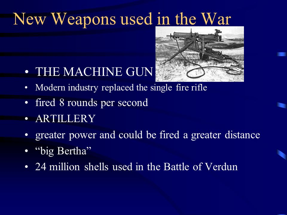 New Weapons used in the War