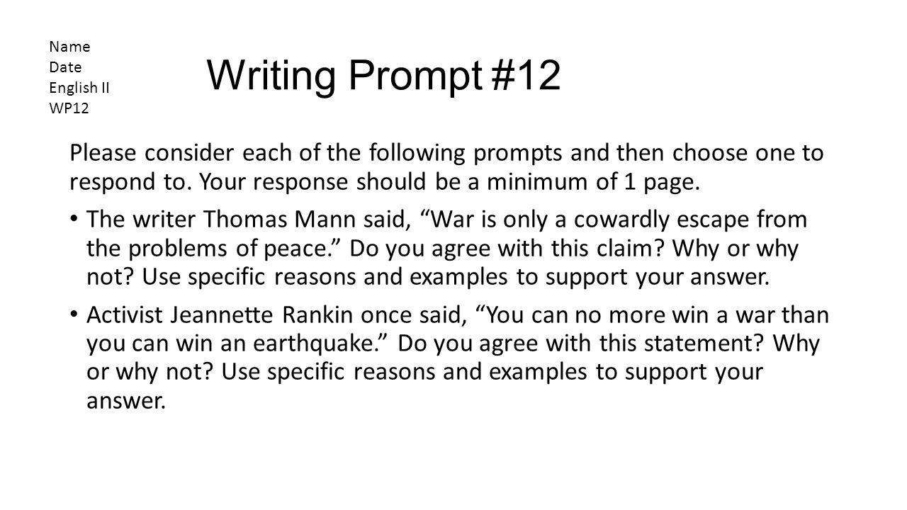 english 2 writing prompts