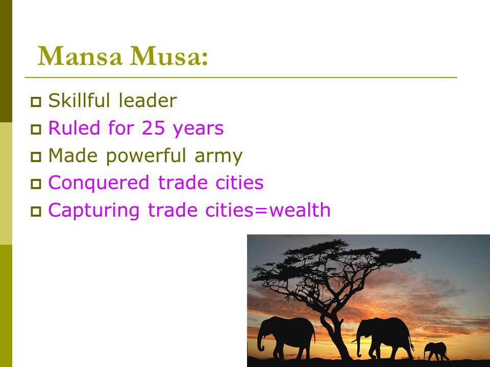 Mansa Musa: Skillful leader Ruled for 25 years Made powerful army