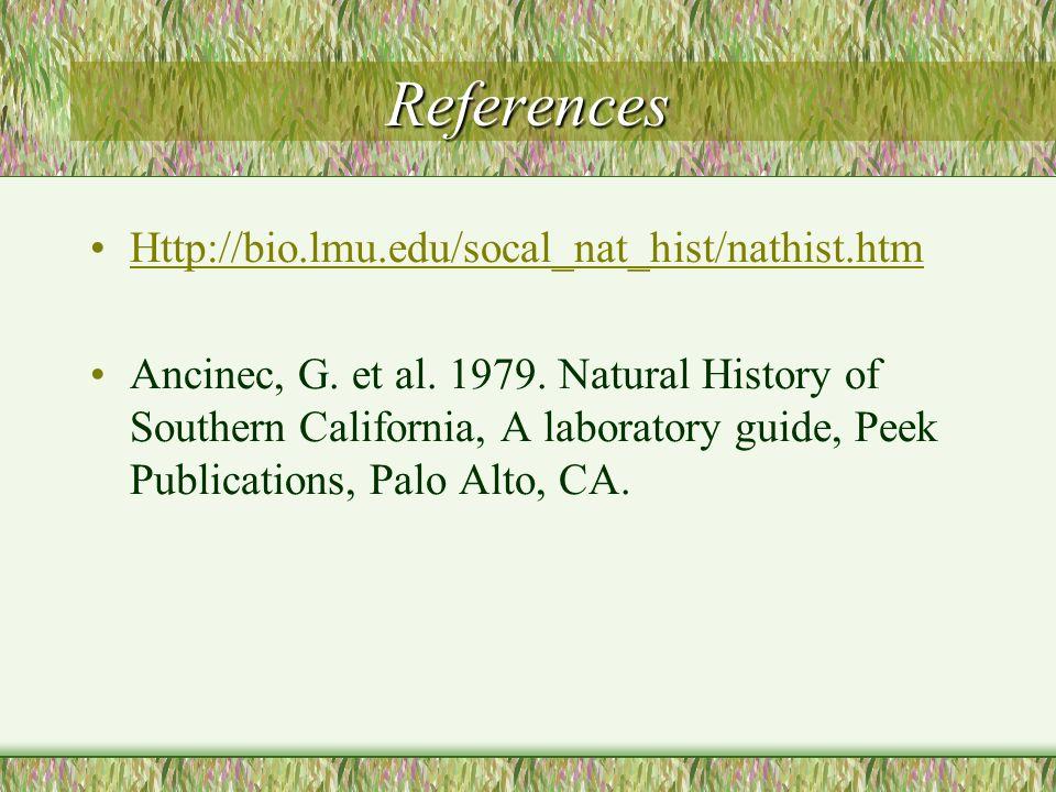 References Http://bio.lmu.edu/socal_nat_hist/nathist.htm