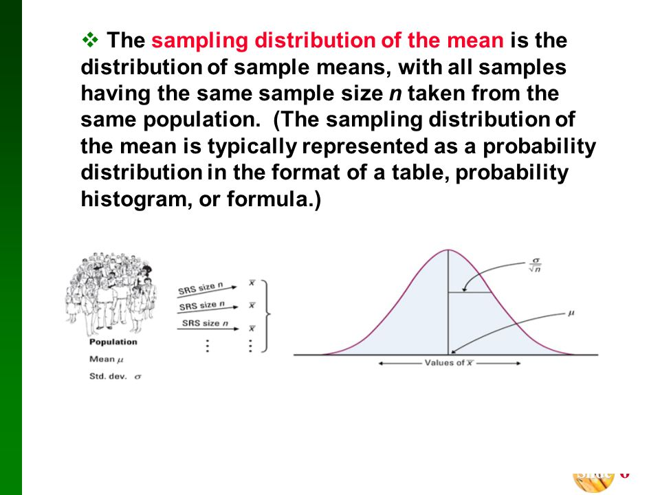 The sampling distribution of the mean is the distribution of sample means, with all samples having the same sample size n taken from the same population.