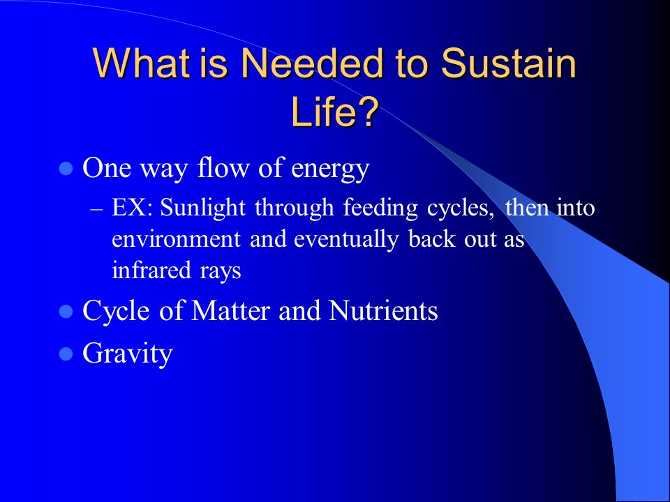 What is Needed to Sustain Life