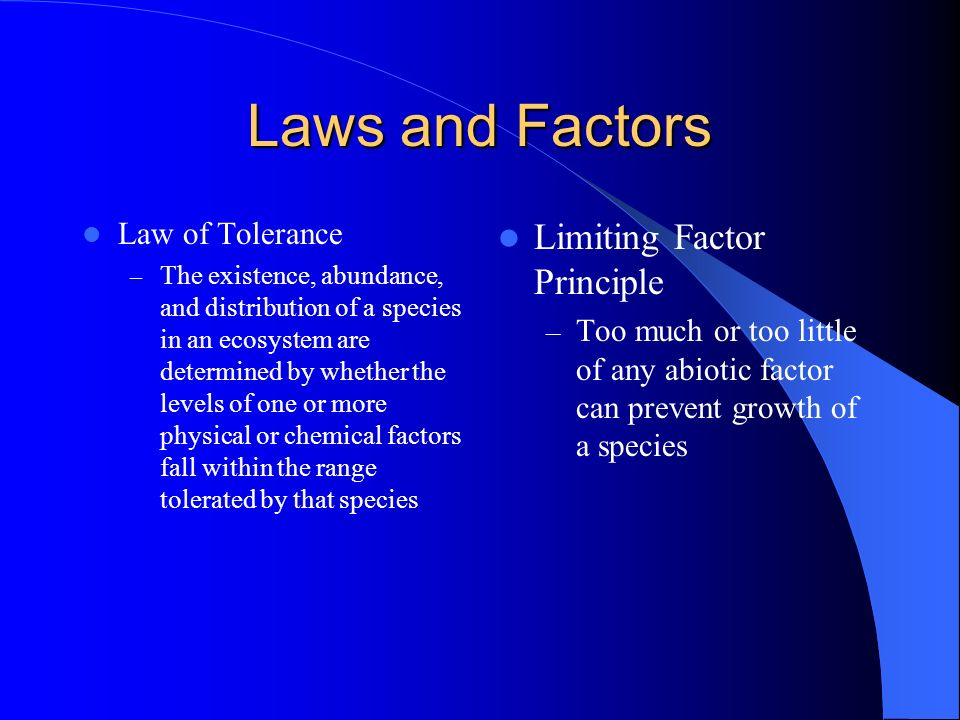 Laws and Factors Limiting Factor Principle Law of Tolerance
