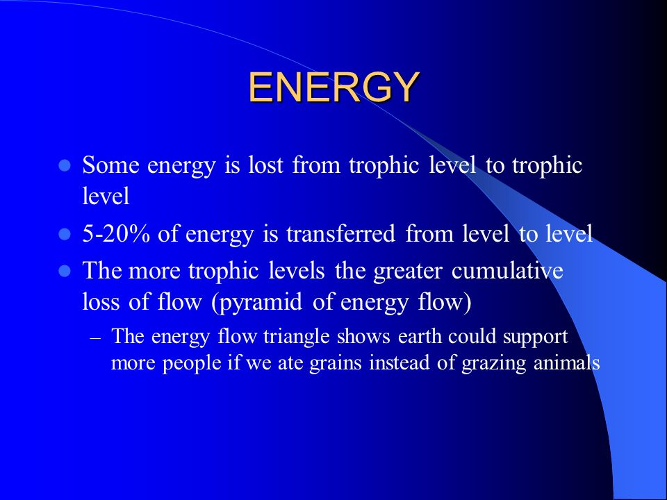 ENERGY Some energy is lost from trophic level to trophic level