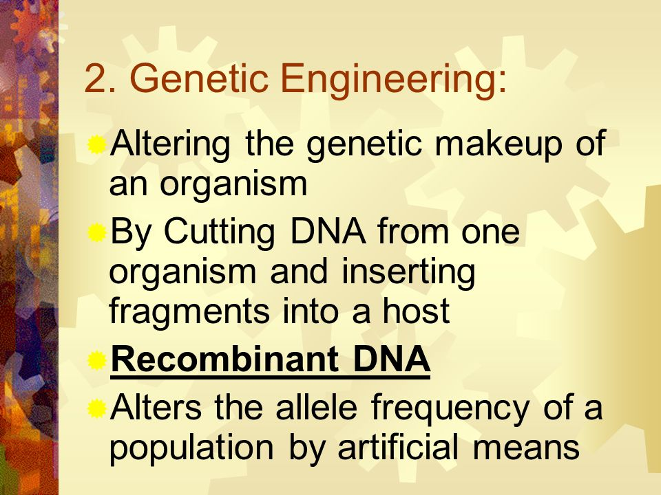 2. Genetic Engineering: Altering the genetic makeup of an organism