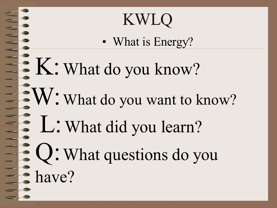 W: What do you want to know L: What did you learn