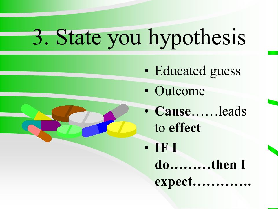 3. State you hypothesis Educated guess Outcome Cause……leads to effect