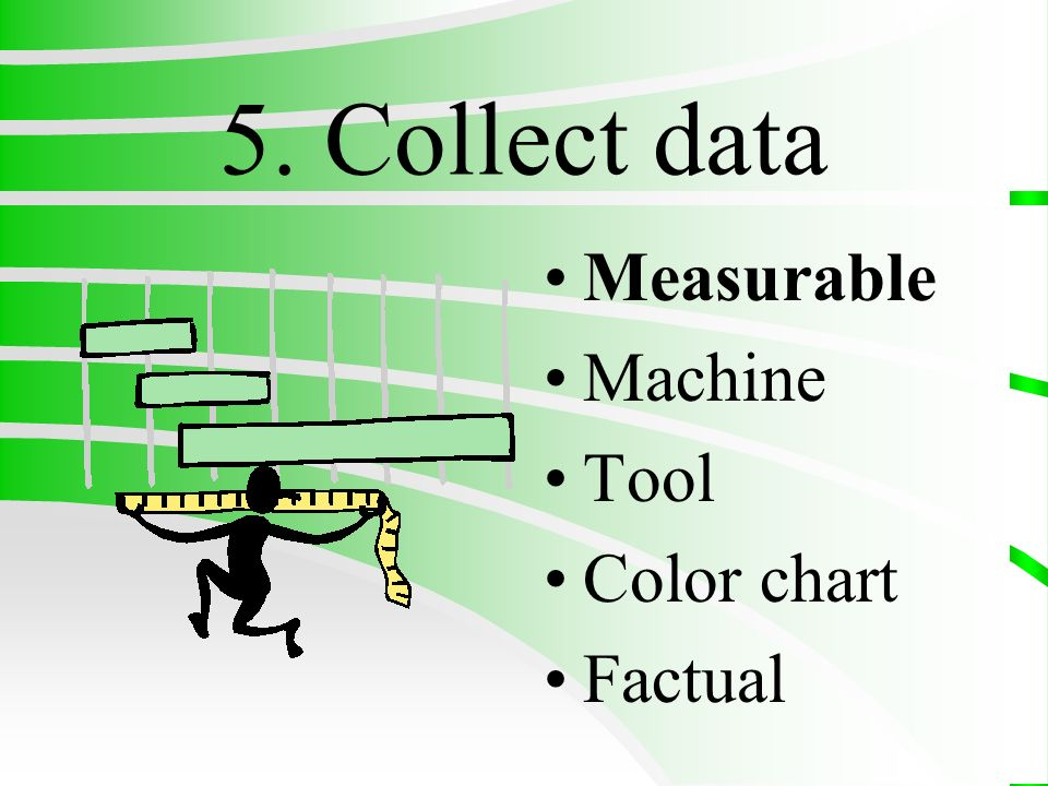 5. Collect data Measurable Machine Tool Color chart Factual
