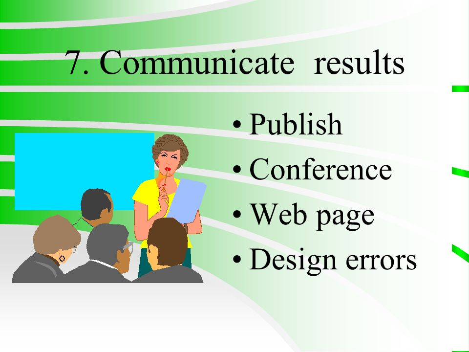 7. Communicate results Publish Conference Web page Design errors