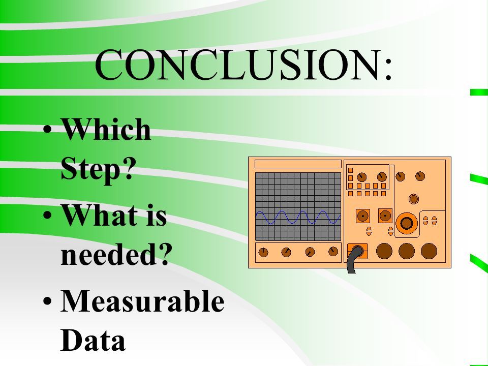 CONCLUSION: Which Step What is needed Measurable Data