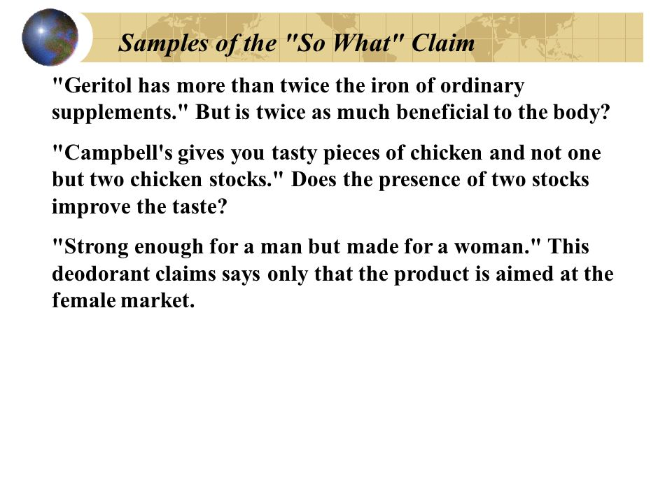 Samples of the So What Claim