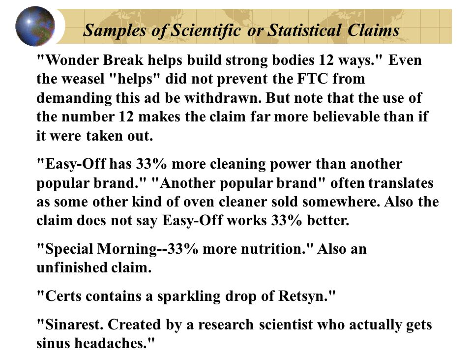 Samples of Scientific or Statistical Claims