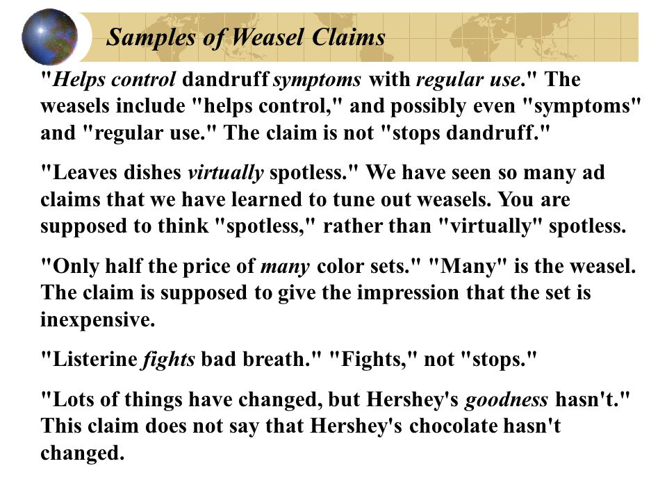 Samples of Weasel Claims