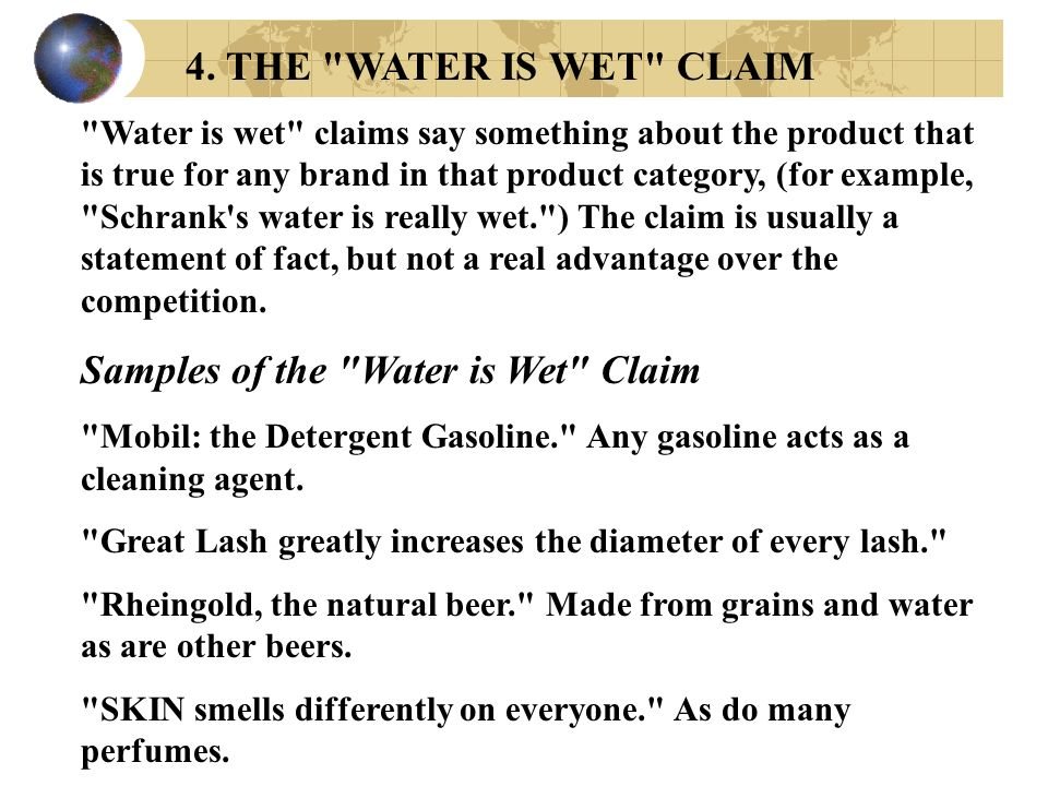 Samples of the Water is Wet Claim