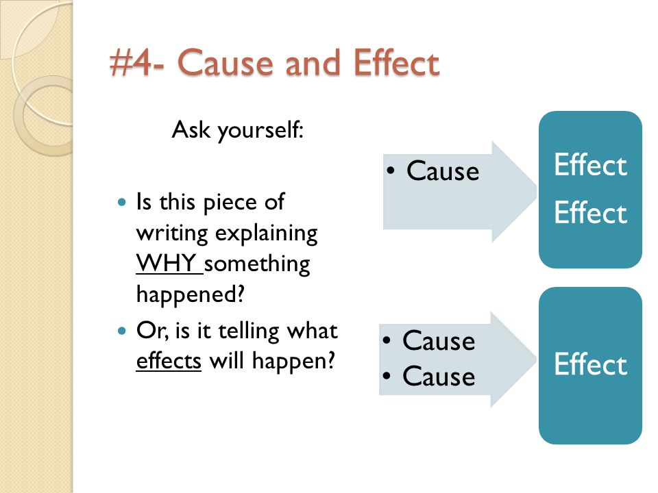 #4- Cause and Effect Ask yourself: