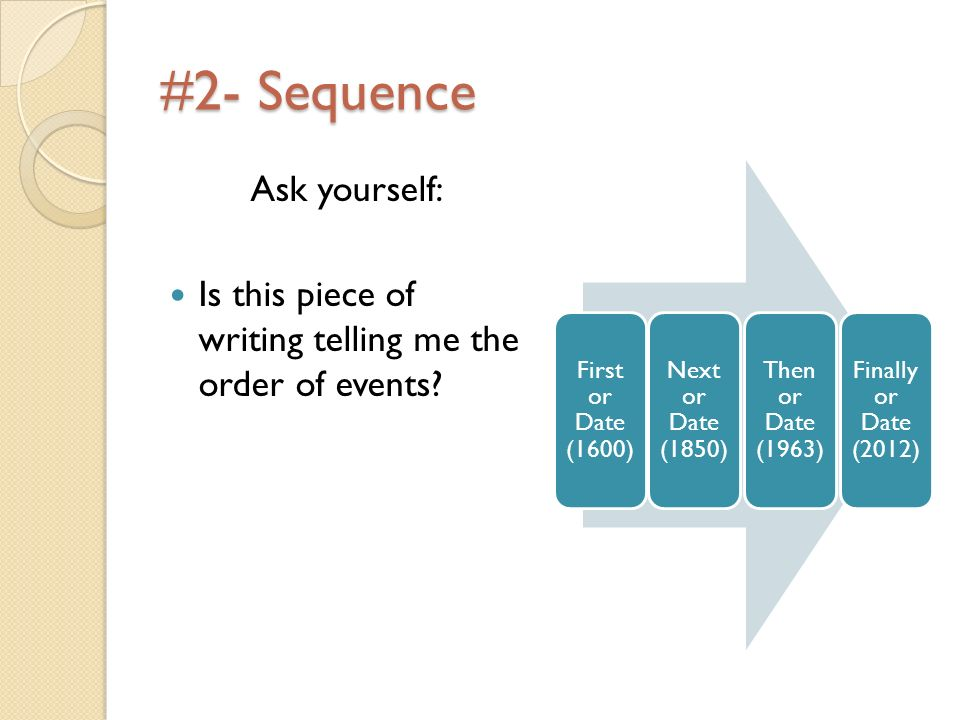 #2- Sequence Ask yourself: