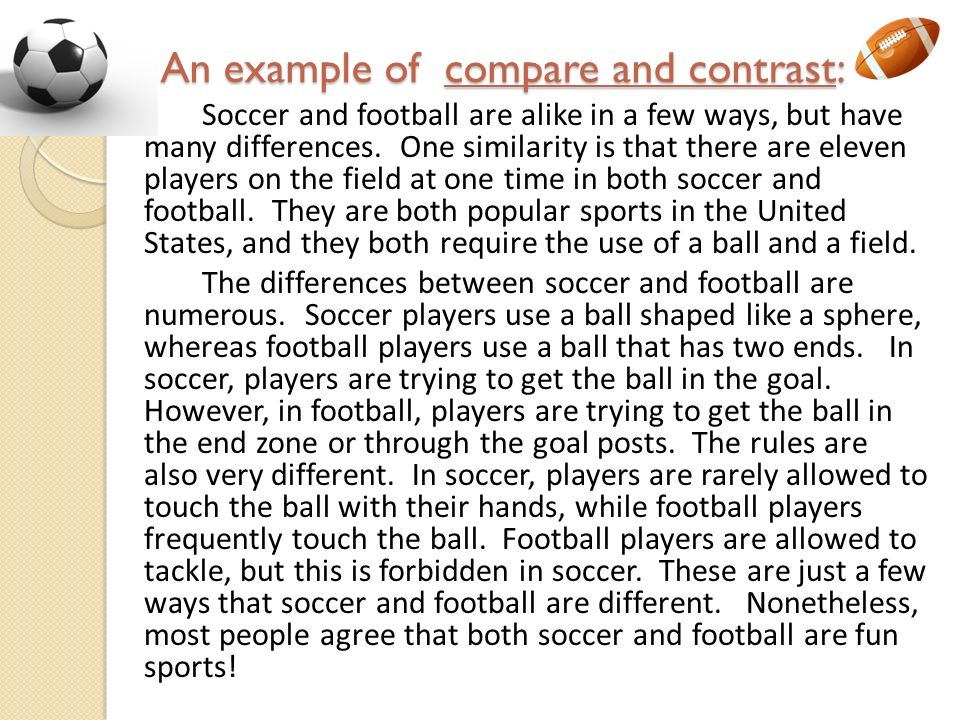 Soccer compare and contrast essay