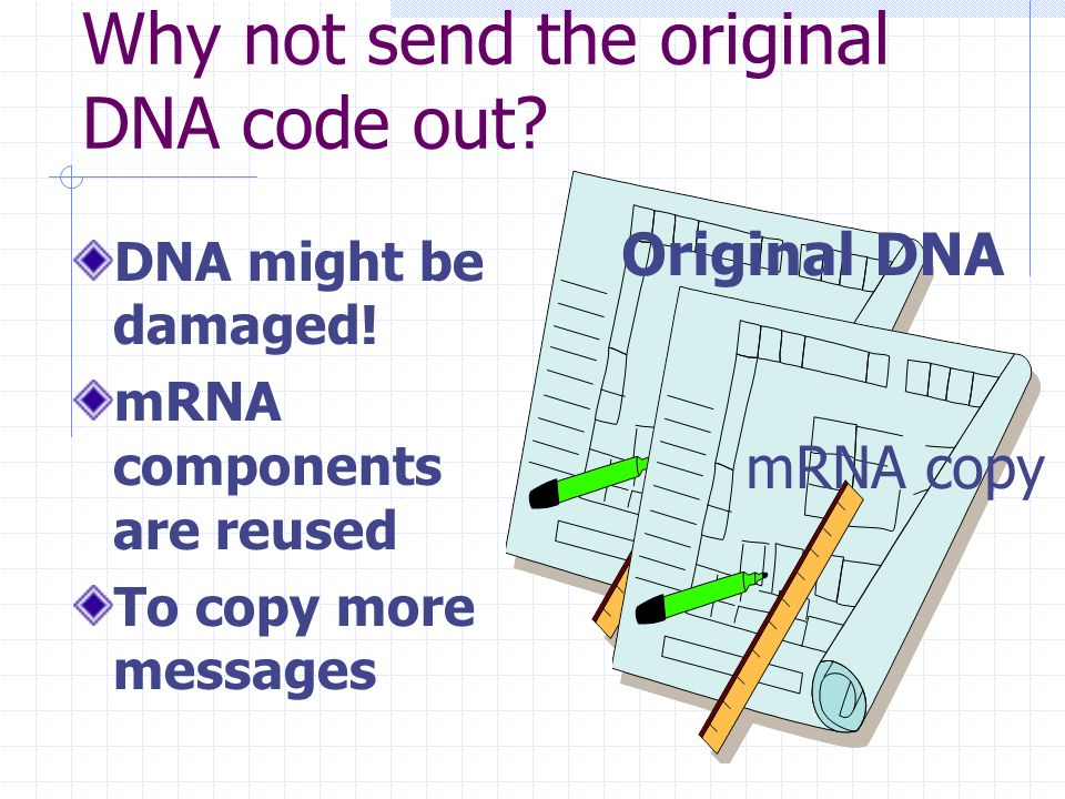 Why not send the original DNA code out