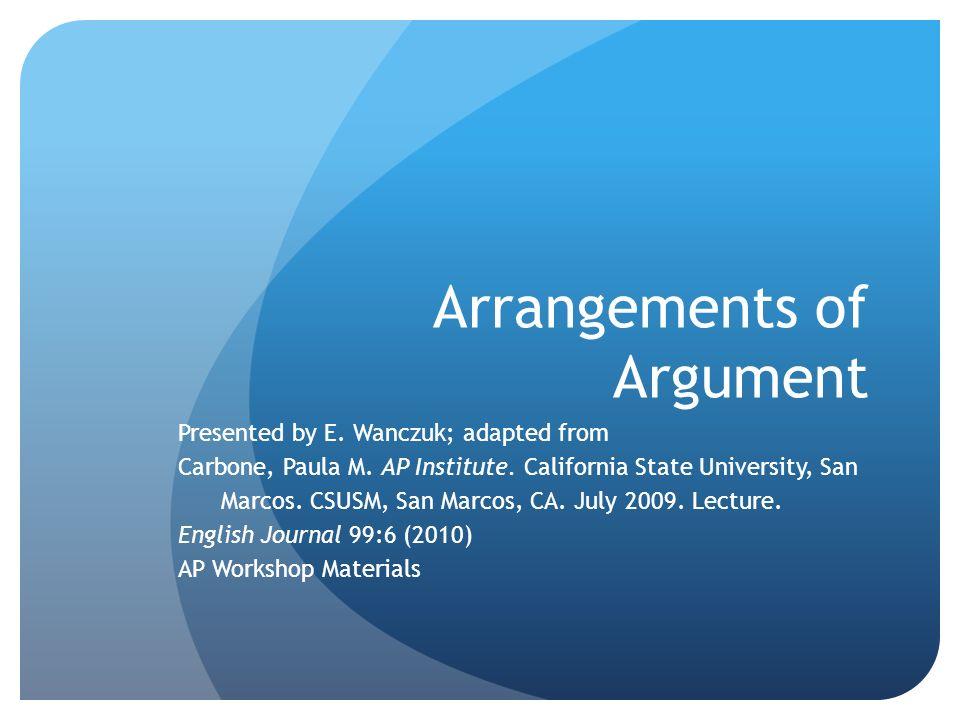 Arrangements of Argument