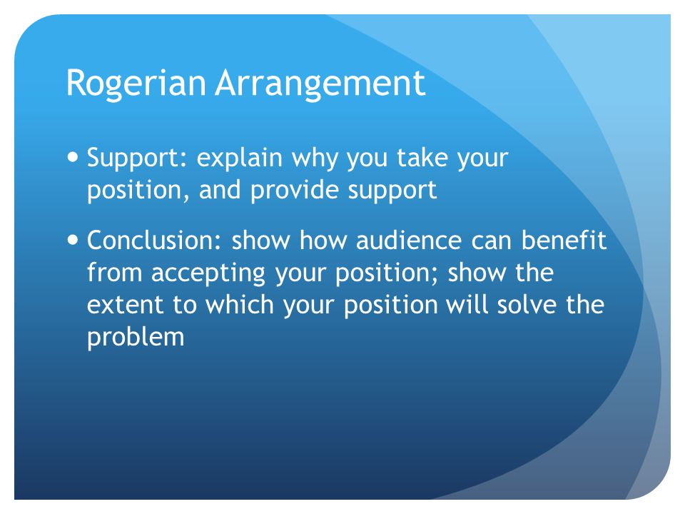 Rogerian Arrangement Support: explain why you take your position, and provide support.