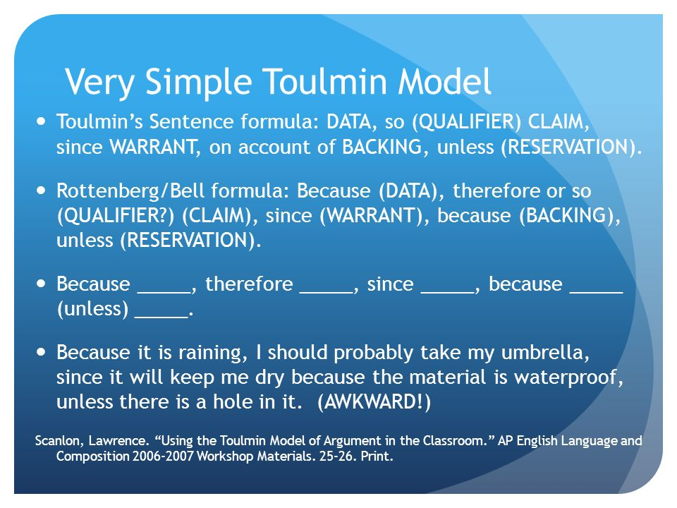 Very Simple Toulmin Model