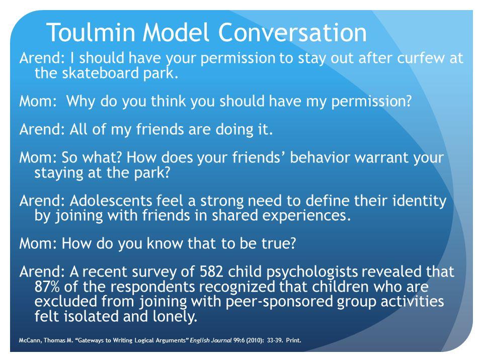 Toulmin Model Conversation