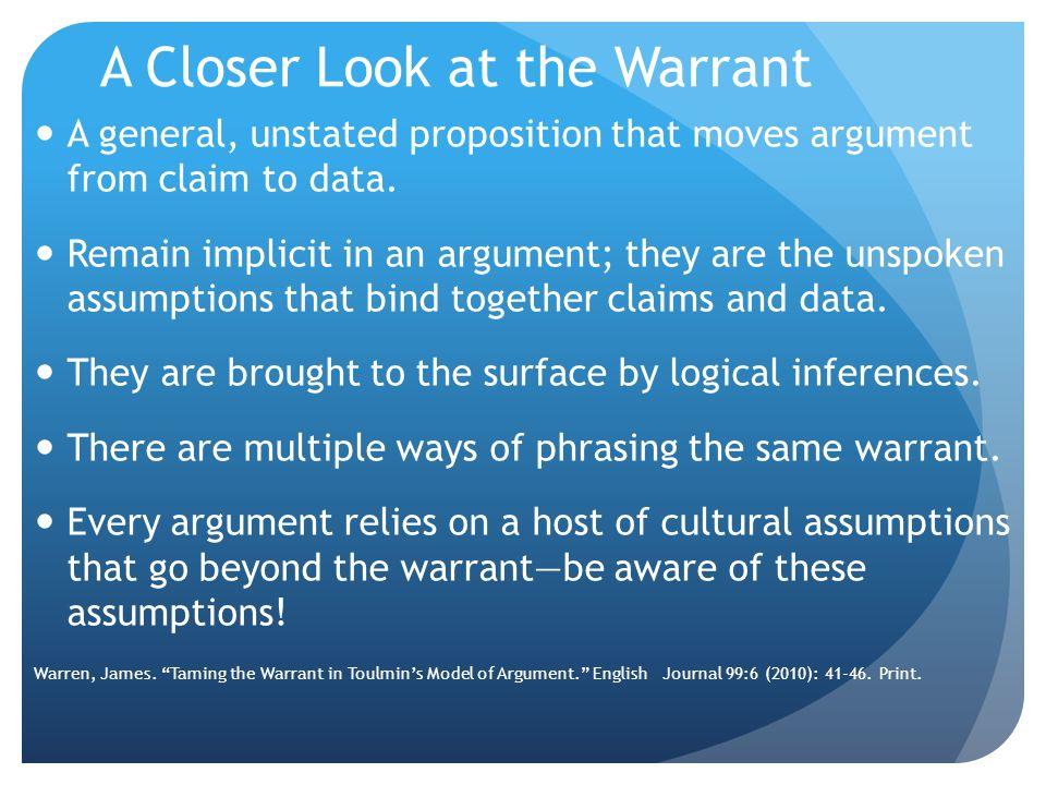 A Closer Look at the Warrant