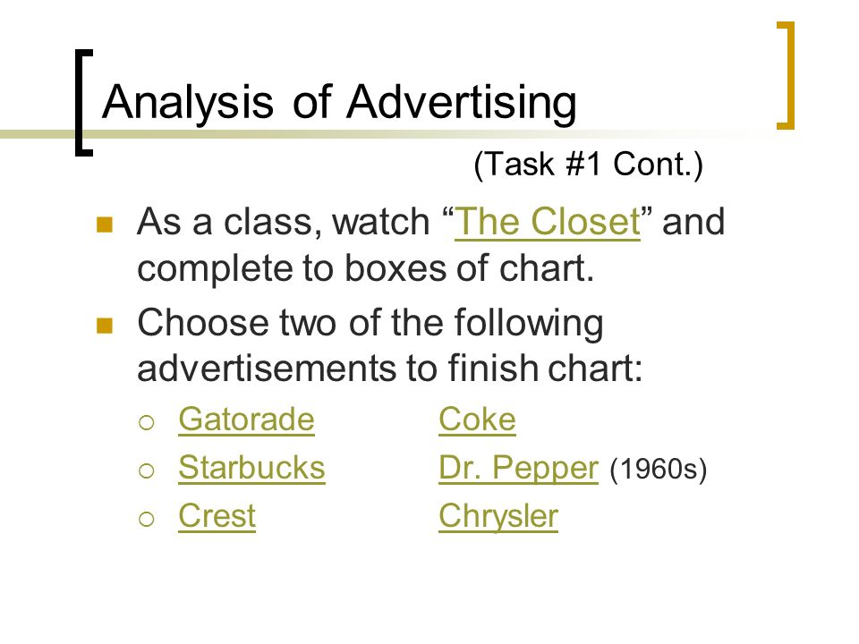 Analysis of Advertising (Task #1 Cont.)