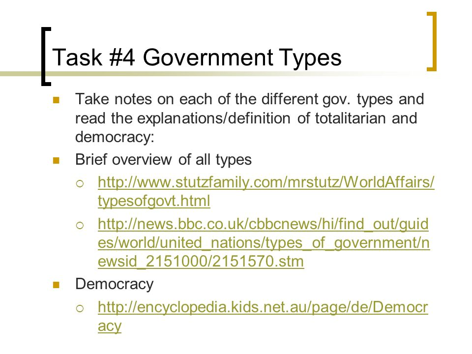 Task #4 Government Types